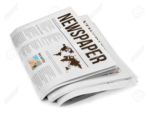 Folded newspapers on white background
